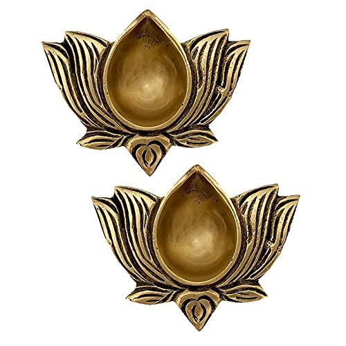 Kamal Lotus Diya for Pooja Room Kuthu Vilakku Brass Puja Items for Home Deepam Oil Lamp Indian Diwali Decoration Item Mandir Decor Backdrop Lamps Made in India Light Wicks Dheepam Set of 2 - Golden