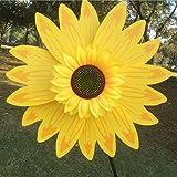 Sharplace DIY Sonnenblume Windmühle - Blume Windrad Windspiel - Deko für Camping Garten Party Festival Garten - Gelb