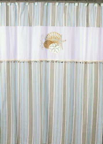 pastel blue beach shower curtain
