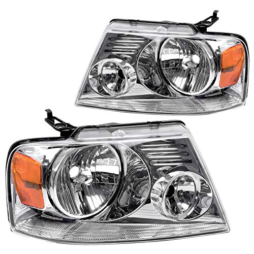 AUTOSAVER88 Headlight Assembly Compatible with Ford F150 Pickup 2004-2008 Chrome Housing Amber Reflector Clear Lens,Passenger & Driver side ATHA0092