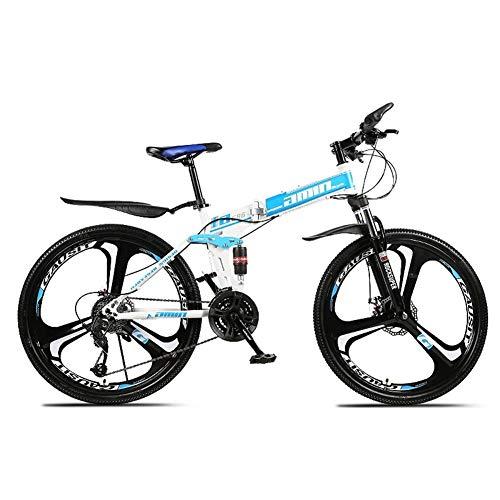Bicicleta de montaña Plegable, 26 Pulgadas, 21 Shifter Velocidad del Acelerador, Todoterreno, Doble amortiguación, Doble Disco, Frenos, Bicicleta para Adulto, Montar al Aire Libre