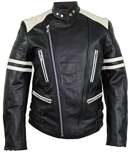 MDM Retro Oldschool Lederjacke, 80´s Lederjacke, schwarz-weiß Motorradjacke (S)