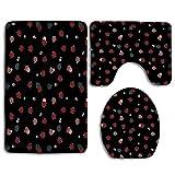 N\A Ladybug Cute Insects Black 3Pcs Set de baño Alfombra Mat Contour Mat + Tapa del Inodoro + Alfombrillas de baño