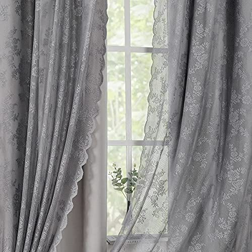 """4 Pieces Grey Blackout Curtains & Elegant Rose Floral Lace Sheer Curtains for Bedroom Farmhouse Mix and Match Double Layer Or Single Layer Gray Room Darkening Grommet Window Drapes, 52"""" W x 84"""" L x 4"""