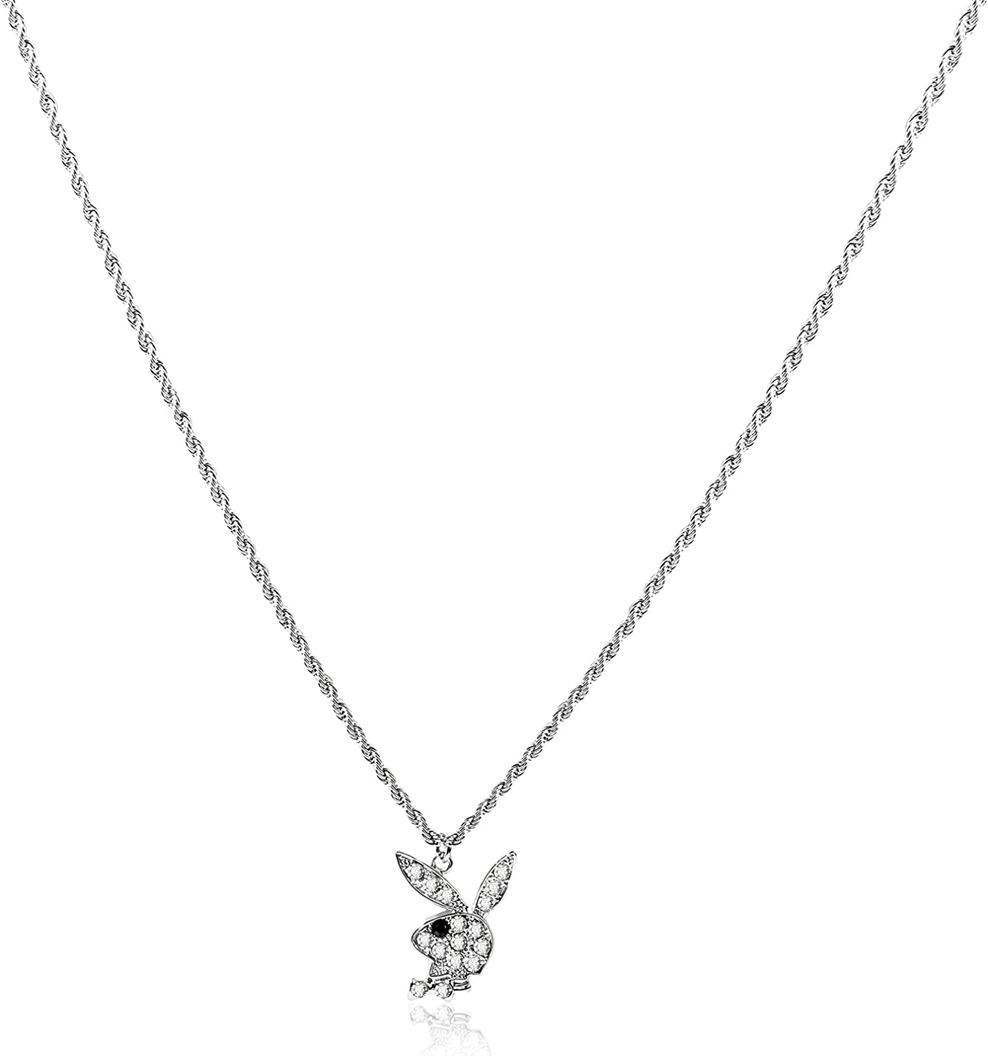 Rhinestone Rabbit Pendant Choker Necklace Adjustable Stainless Steel Chain Necklace with Extender Punk Animal Bunny Charm Jewelry for Women Girls