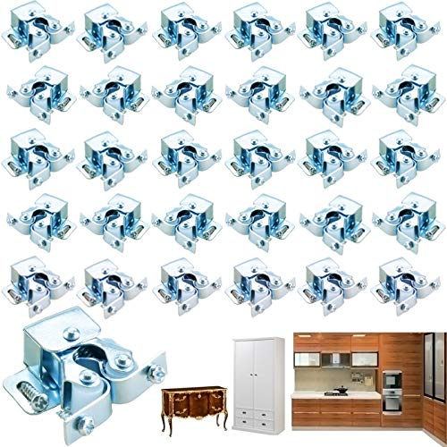 YG_Oline 20 Pieces Silver Double Roller Catch Spring Type Wardrobe Clip Lock, Cupboard Cabinet Door Catch Latch for Home and Kitchen