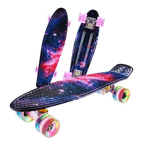 Caroma Standard Skateboard für Anfänger Erwachsene, 55 cm Retro Skateboards Komplette für Kinder Jugendliche, Mini Cruiser Skateboard mit LED Light Up Räder für Jungen Mädchen