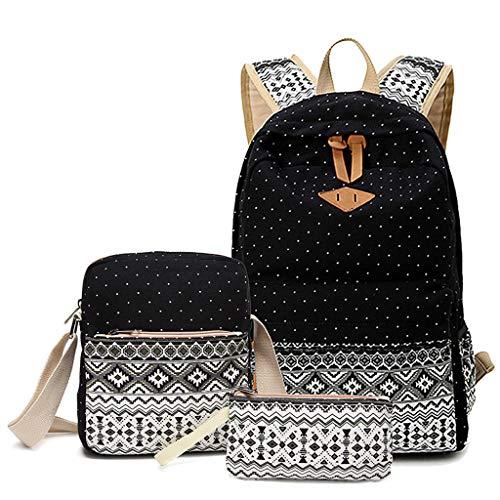 TWIFER Mochila de Lona Casual,Backpack Mochilas Escolares Mujer Mochila de Viaje, Mochila Escolar para Chicas Mochila Escolar Lona Bolsa Casual Para Chicas Bolsa De Hombro Mensajero Billetera