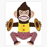 Monkey with Cymbals. Sticker Decal Bumper Sticker 5'