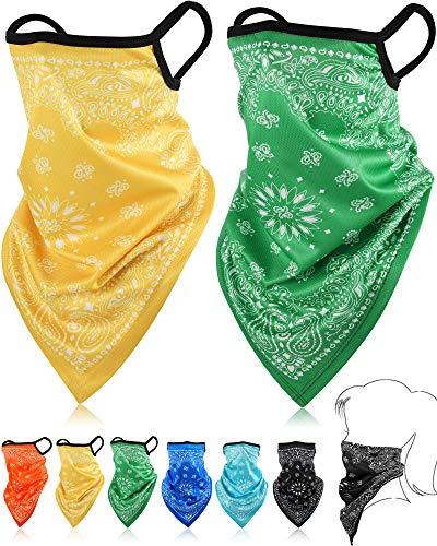 SATINIOR Bandana Gesichtsschutz Ohrschlaufen Sturmhauben Hals Gamasche Schal Outdoor Kopfbedeckung für Männer Frauen (Gelb, Grün, Rosenrot, Orange, Cyan, Blau, 6)