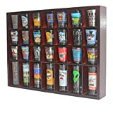 Shot Glass Display Case Holder for Wall, Small Hanging Cabinet Rack for 28 Shot Glasses, No Door, (Mahogany)