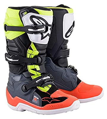 Alpinestars 2015017-9058-6 Youth Tech 7S Motocross Boot, Dark Gray/Red/Yellow, 6