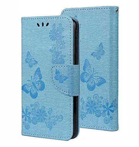 HAOTIAN Hülle für Oppo Reno 4Z 5G (Oppo Reno4 Z 5G), W&erschönen Geprägt Schmetterling Muster Design Leder Brieftasche Flip Handyhülle Stoßfest Schutzhülle, Blau