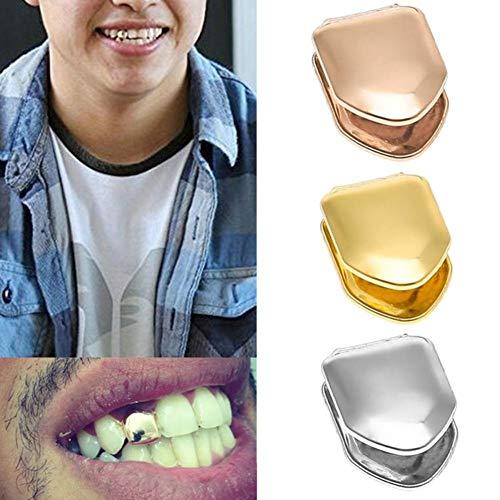 HIP-HOP SUI Arbeiten Sie einfach und einfach Hip Hop Einzelhohl Gold Teeth eingelegt mit Gold und Männern kühlen Rock-Hip Hop Metall Einzelzahn-Form-Fest Grillz Grill Zähne Cap (Color : Golden)