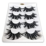 Mikiwi 25mm Lashes, Dramatic 6D Faux Mink Lashes, Fluffy Volume Eyelashes, Thick Crossed Lashes, Long Faux 25mm Mink Lashes (6D4-05)