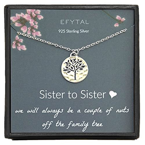EFYTAL Sister Gifts from Sister, 925 Sterling Silver Family Tree of Life Necklace, Birthday Jewelry Gift Necklaces for Sisters