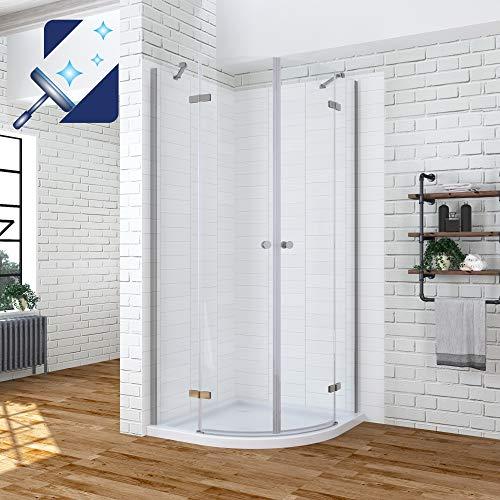 AQUABATOS® 80x80 x 195 cm Duschkabine Viertelkreis mit Scharnier Duschtür und Festteil aus 6mm ESG Nanobeschichtung Sicherheitsglas, Runddusche halbrund Rund Dusche Duschabtrennung Duschwand Glas