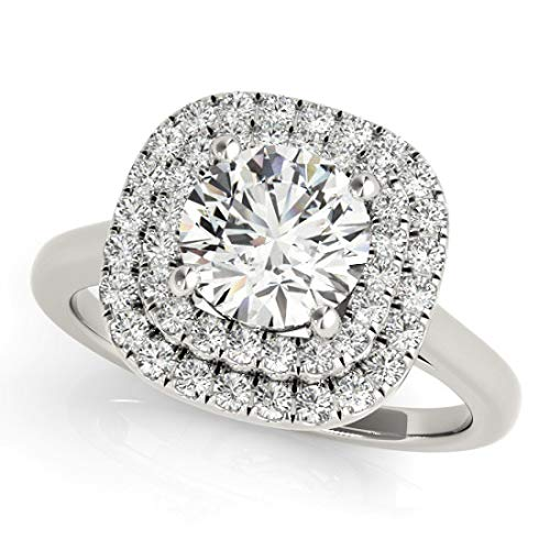Halo Diamond Bridal Set Ring with 1.75 cttw of Natural Round Shape Diamonds available in 14K White, Yellow or Rose Gold. Free Designer Gift Box. Free Certificate.