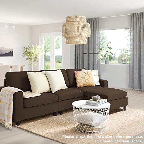 Pukami Convertible Sectional Tiny Sofa Couch for Living Room, Reversible Chaise with Modern Linen Fabric, L-Shaped 3-seat Sofa Couch with Ottoman for Small Space, Apartment,Dorm,Juvenile (Brown)