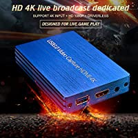 4K HDMI Capture Card Video Card Capture Box USB3.0 Drive-free Game Broadcast Microphone HD 1080p Streaming Live Video Recording