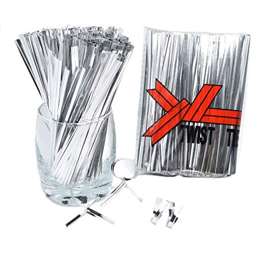 4 Inch Metallic Twist Ties-800 Pieces Plastic Cable Ties Foil Twist Ties for Bread Candy Bags, Gift Bags, Party Cello, Cake Pops (Silver)