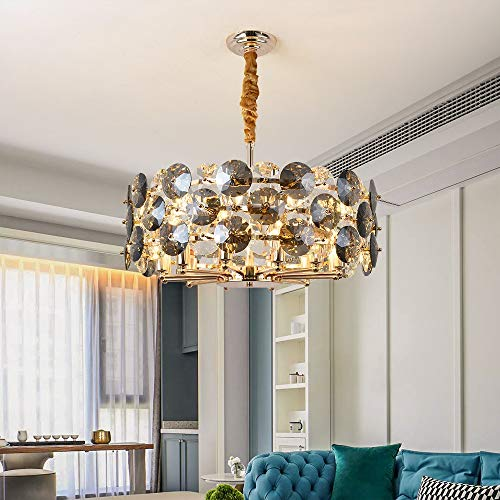 GUADANG Modern Chandelier Lighting For Living Room Smoke gray Crystal Lamps Round Chains Chandeliers Home Decoration Light Fixtures (Emitting Color : Warm light 3000K, Size : Dia60cm)