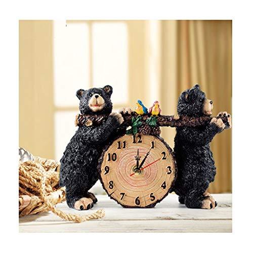 HTDZDX - Oso Negro Tallado de Resina ecológica, Reloj silencioso Europeo para mesita de Noche, joyería Creativa para Sala de Estar o Dormitorio