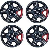 Hotwheelz Swift Dzire 14-inch Wheel Cover Black Twin red (Set of 4,)