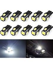 Wincar T10 LEDホワイト 爆光、高輝度 W5W 194 168 LED バルブ、12V車用ナンバー灯 ポジション ウエッジ ルームランプ 5630 SMD 6000K LED電球 10個セット