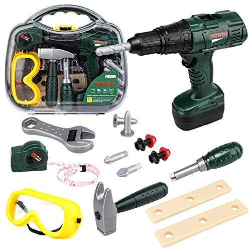 STEAM Life Kids Tool Set with Power Toy Drill | Toy Tool Set Contains Tool Box and Toy Hammer, Goggles, Power Drill and 11 More Play Tools