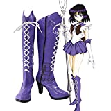 BELUNOT Anime Sailor Moon Sailor Saturn Cosplay Party Shoes Purple Fancy Boots Customized Size 44