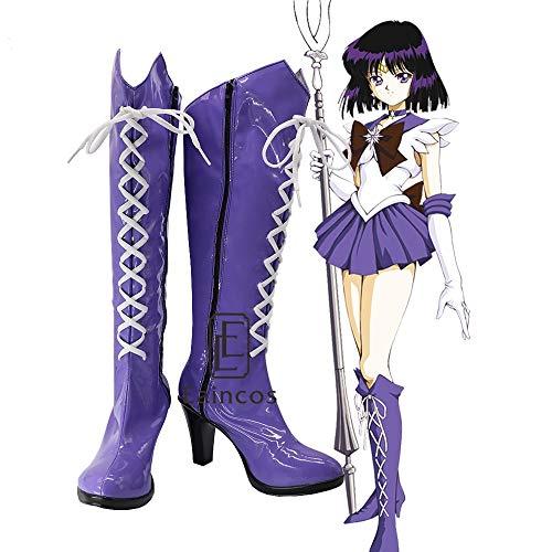 WSJDE Anime Sailor Moon Sailor Saturn Cosplay Party Schuhe Lila Fancy Boots Customized Größe 42