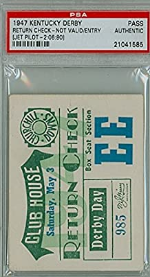 1947 Kentucky Derby Ticket Stub Return Check - Jet Pilot May 3 1947 [[VG/EX; LT CRN WEAR, CRN CREASE]] by Mickeys Cards