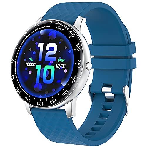 ZGZYL Smart Watch Men DIY Dial Touch Full Touch Fitness Tracker Pedómetro Tasa De Corazón Presión Arterial Sangre Oxygen Smart Watch Lady Smartwatch para iOS Android,B