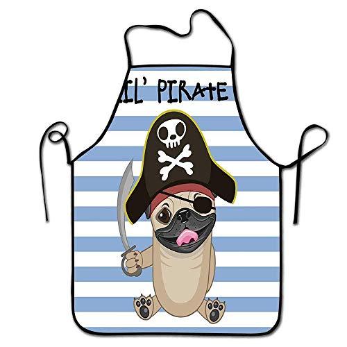 Not Applicable Delantal Pirata Grill Hombres Buccaneer Perro en Estilo de Dibujos Animados Disfraz Lil Pirate Rayas Telón de Fondo Divertido Animal Delantal Hombres Multicolor