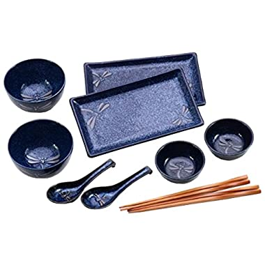 Happy Sales HSBH85/N, 10-Piece Dinnerware Set Blue Dragonfly