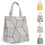 Buringer Insulated Lunch Bag with Inner Pocket Printed Canvas Fabric Reusable Cooler Tote Box for Ladies Woman Man School Work Picnic (Upgraded White Geometric Pattern)