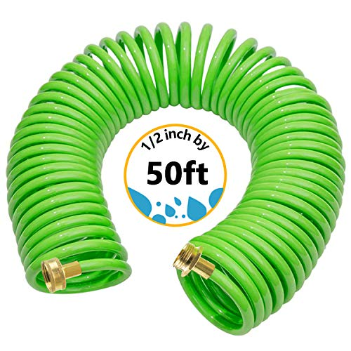 Premium PU Recoil Garden Hose, Retractable Water Hose 50ft,Watering Hose Coil with Brass Connector self Coiling Boat Hose