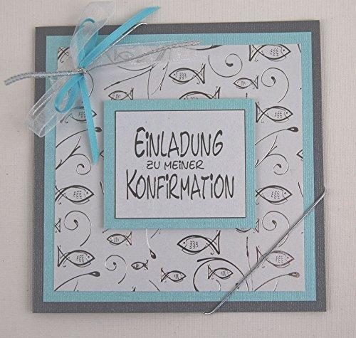 8 x Einladungskarte zur Konfirmation*silber-eisblau*helltürkis*hellblau*Handmade*