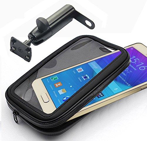 IBROZ -Supporto universale da Moto, Scooter o bici etc... di specchi o di fissaggio da manubrio con asta rigida, rotazione a 360° e custodia impermeabile per iPhone 5/6, SAMSUNG GALAXY S3, S4 .. (larghezza Max: 7 cm, altezza: 13,8 cm)