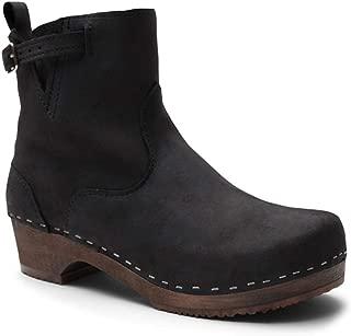 Swedish Low Heel Wooden Clog Boots for Women   Manhattan