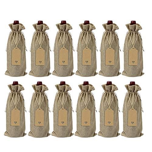 DealMux 12 bolsas de arpillera para vino Bolsas de yute para botellas de vino con cordón Bolsas de regalo de vino reutilizables con etiquetas