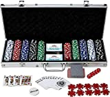 How (House of Wishes) 500 Chips/Coins + Cards + Dice + Dealer Token Poker-Set (Aluminium case Safe Pack)