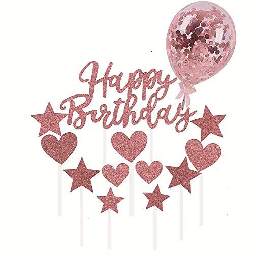 通用 Simmpu Rose Gold Happy Birthday Cake Toppers Set Decorazione per Torta Include Happy Birthday Stars Heart Cake Toppers Palloncini di Coriandoli per Ragazze e Donne