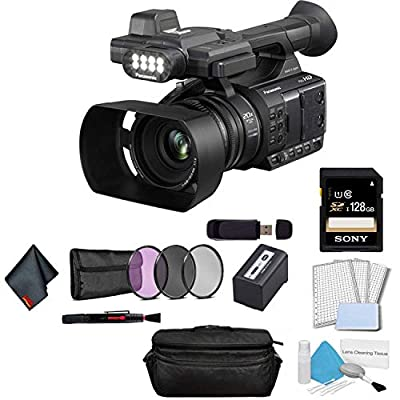 Panasonic AG-AC30 Full HD Camcorder with Touch Panel LCD Viewscreen and Built-in LED Light (US Version) Bundle with Sony 128GB SDXC Memory Card + 3 Piece Filter Kit + More by Panasonic