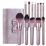 12pcs Pinceles de Maquillaje Set Pinceles de Maquillaje de pestañas en Polvo de Sombra de Ojos (Rosa)
