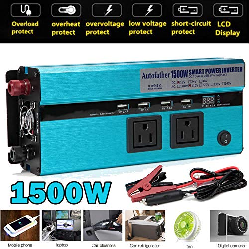 1500W Power Inverter 3000W Peak 12V DC to 110V AC Car Adapter with 4 USB and 2 AC Charging Ports Back-up Power with Cigarette Lighter for Home, Laptop, Tablet, Smartphone,Camera Truck and More