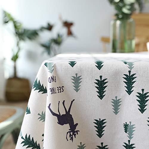Home Decor Tablecloth Cotton Linen Christmas Green Tree Modern SimpleTablecloth Tea Table Cloth Table Cloth