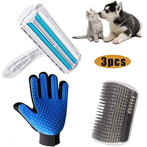 HUOHUOHUO Fusselbürste für Haustierhaa,Fusselbürste Fusselrolle,Tierhaarentferner Fusselrolle, Pet Brush Gloves,Cat Groomer Massage Corner,Fusselbürste Tierhaare