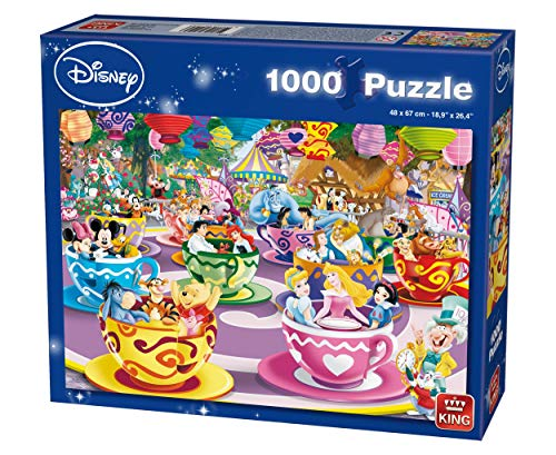 KING 55887 Disney Puzzle Mad Tea Cups - 68 x 49 cm, Blauer Karton
